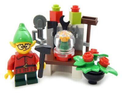 NEW LEGO CHRISTMAS ELF w/ WORKSHOP & SNOW GLOBE santa claus minifig holiday