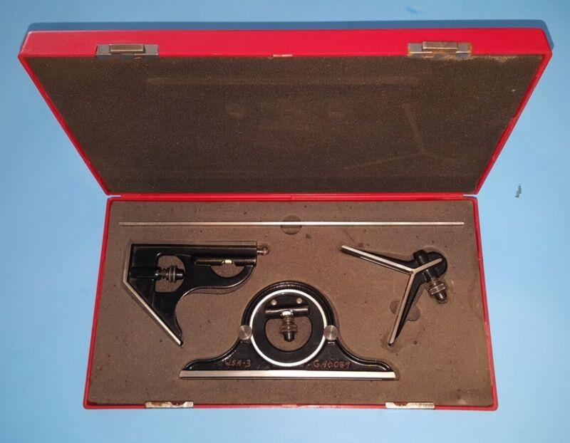 """Starrett Combination Square  12"""" blade Center Head Protractor 4R NICE red case"""