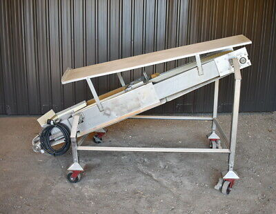 Used Stainless Steel Incline Belt Conveyor With Eriez Magnet