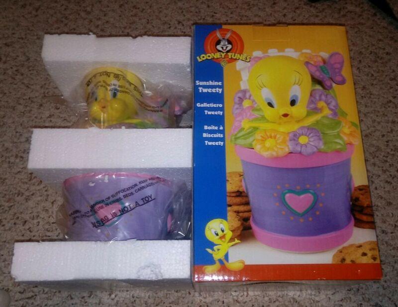 Looney Tunes Sunshine Tweety Bird Ceramic Cookie Jar Warner Bros Rare