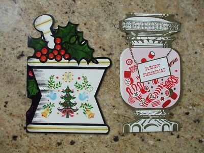 Vintage Christmas Cards Drugstore Weaver's Prescription Pharmacy Candy Die -