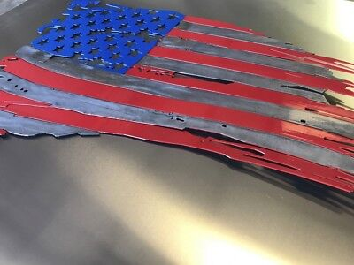 "(Patriotic torn American Flag Metal Wall Art  36"" x 22"" Made in USA)"