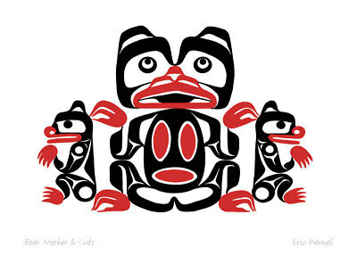 Used, Bear Mother and Cubs Eric Parnell Art Card Haida Northwest Coast Native No.498 for sale  Canada