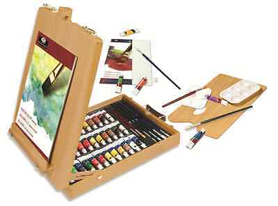48 PIECE WOODEN ARTIST EASEL SET WATERCOLOUR OIL ACRYLIC PAINTS PAD & BRUSHES