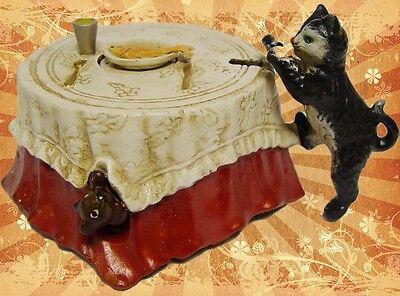 Spardose Mechan.Katze+Fisch Geschenk Vintage Deko Spielzeug Blechspielzeug