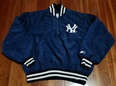 Vintage MLB New York Yankees Starter 1/4 Zip Pullover Windbreaker Mens Large L