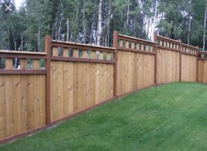 Wood screen fencing, post holes, post setting
