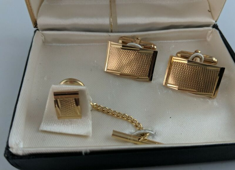 Vintage Estate Signed Anson Faceted Gold Tone Curved Cufflinks Tie Tac In Box EW