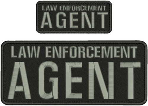 LAW ENFORCEMENT AGENT EMBROIDERY PATCH 4X10 AND 2X5 HOOK ON BACK BLK/GRAY