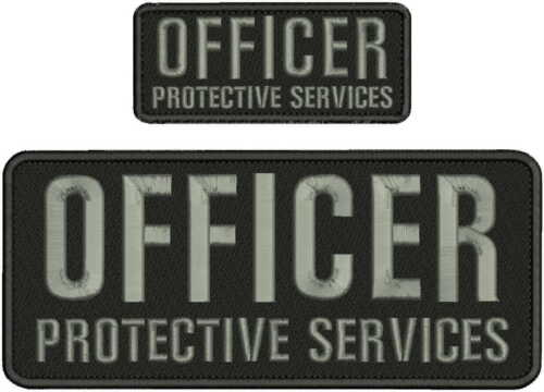 OFFICER PROTECTIVE SERVICES EMBROIDERY PATCH 4X10 & 2X5 HOOK ON BACK BLK/gray