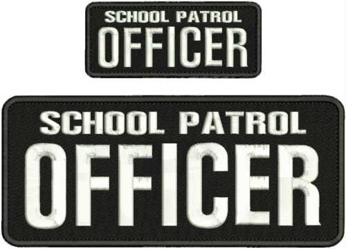 SCHOOL PATROL OFFICER EMBROIDERY PATCH 4X10 & 2X5 HOOK ON BACK  BLK/WHITE