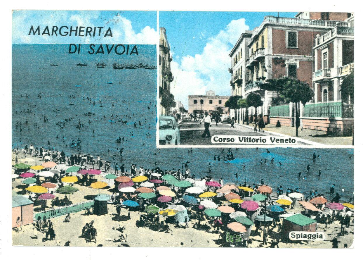MARGHERITA DI SAVOIA SPIAGGIA CORSO VITTORIO VENETO VIAGGIATA 1966 FOGGIA PUGLIA