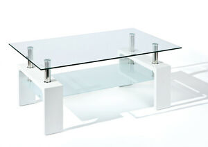 table basse de salon rectangulaire design moderne plateau verre pied blanc ebay. Black Bedroom Furniture Sets. Home Design Ideas