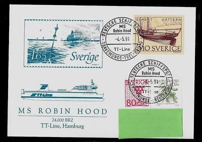 Schiffspost MS ROBIN_HOOD TT-Line Travemuende-Trelleborg -04.05.1991- Robin Hood Line