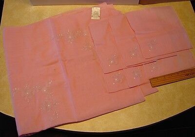 "Fiorentino Italy Tablecloth 6 Napkins Pink Vintage Machine Embroidered 32"" X 34"""