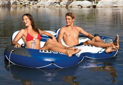 Intex River Run II Inflatable 2 Person Pool River Tube Float with Drink Cooler