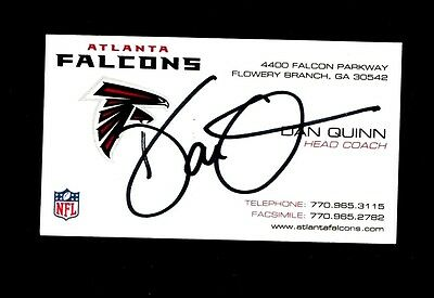 Signed Business Card Of Dan Quinn  Atlanta Falcons Head Coach