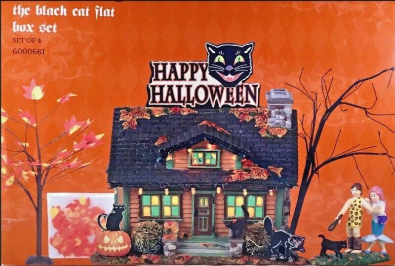 Dept 56 the Black Cat Flat set of 4 BNIB, SV Halloween