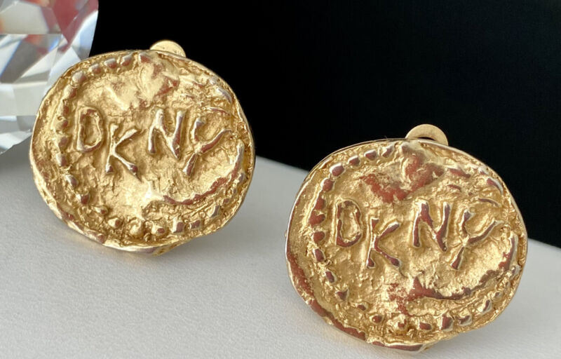 Vintage Designer Donna Karen DKNY Gold Tone Nugget Coin Logo Clip Earrings