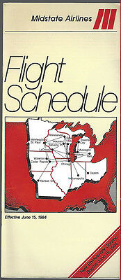 Midstate Airlines system timetable 6/15/84 [6114]