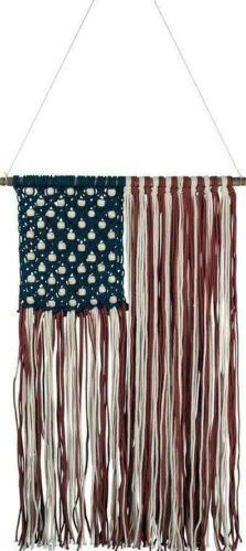 Macrame Flag Wall Hanging Home Decor American Cotton Beaded Flag Americana USA