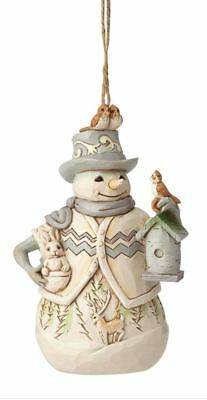 Enesco Jim Shore Heartwood Creek White Woodland Snowman Ornament (6001418)