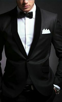 Bespoke Black Wedding Men Suits Shawl Lapel Party Groomsmen Suit Groom Tuxedos