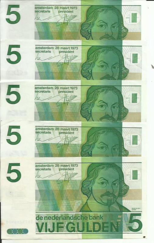 NETHERLANDS LOT 5x 5 GULDEN 1973  P 95. XF CONDITION. 4RW 16JUN