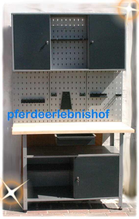 werkstatt werkbank werkzeug schrank set grau lochwand 3 teilig werkzeughalter eur 199 90. Black Bedroom Furniture Sets. Home Design Ideas