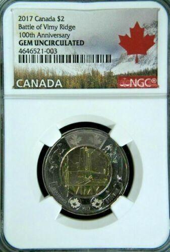 2017 CANADA $2 BATTLE OF VIMY RIDGE 100th ANNIV NGC GEM UNCIRCULATED