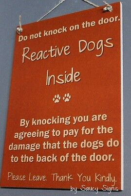 Reactive  Dogs Do Not Knock Doorbell Brown Wooden Door Welcome Warning Sign