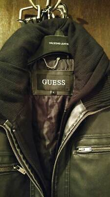 GUESS Mens Leather Jacket: Large