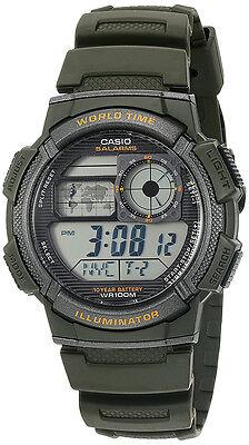 Casio Mens World Time 100M 10 Yr Battery Life Green Resin Watch Ae1000w 3Av