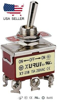 Heavy Duty Dpdt On-off-on Toggle Switch 20a 125v 15a 250v Screw Terminals 23b