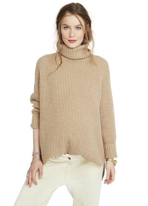 Hatch Maternity THE WAFFLE TURTLENECK Camel Merino Wool Size O/S (ONESIZE) NEW