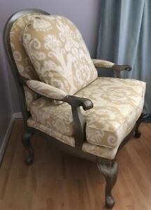 NEW FRENCH BERGERE WINGBACK CHAIR OTTOMAN SET