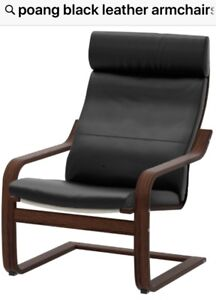 POANG ARMCHAIR LEATHER SEATS AND HEADREST
