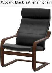 POANG LEATHER ARMCHAIR WITH HEAD REST