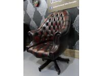 Refurbished Chesterfield Captains Directors Executive Computer Desk Chair Oxblood Leather - Delivery