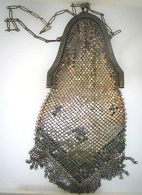 1920s Style Purses, Flapper Bags, Handbags Antique 1920's Flapper Whiting Davis Enamel Mesh Fringe Art Nouveau Purse Bag * $75.65 AT vintagedancer.com