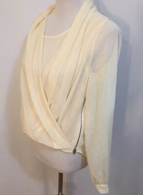 Double Zero Layered Blouse Top Semi Sheer Long Sleeve Gold Side Zipper Size S ()