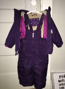 BABY GIRL WINTER TECH HOODED JACKET WITH SNOW BIB PANTS (12M+)