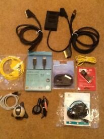 CABLES ASSORTMENT OF SCART, ETHERNET, HDMI, MOUSE, MICROPHONE & CAMERA