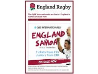 England v Samoa - Rugby Tickets x 4