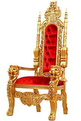 LUXUS THRON SESSEL ROT ca.180cm XXL-SIZE LÖWEN STUHL SITZMÖBEL KINGCHAIR GOLD