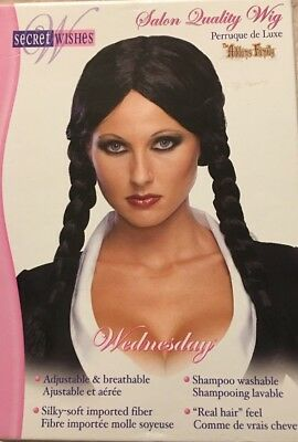 Secret Wishes Rubie's Addams Family Wednesday Wig Black Braids OneSize Halloween (Wednesday Addams Wig)