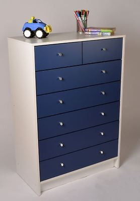 Blue White Chest Of Drawers Seven 7 Drawers Storage Wooden Bedroom Furniture