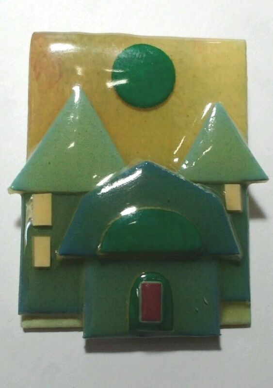 House Pin by Lucinda Habitat Made in USA Greens Gold Brown Trees Sun House