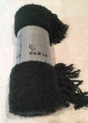 IKEA Ritva Nubby Fuzzy Light Weight Gray Mohair Blend Blanket Throw 51x 67