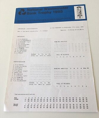 Lancashire v Worcestershire - 17/7/85 - Scorecard - Nat West Trophy